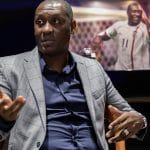 Photography of Emile Heskey talking about his new book.